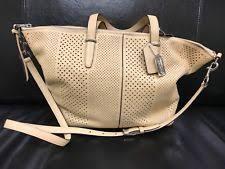 Coach Bleecker Stripe Cooper Satchel Perforated Leather Shoulder Bag 27913