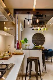 Modular Kitchen With Dining Design Open Modular Kitchen With Attached Dining Area And Wooden