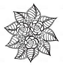 Hand Getrokken Fantasie Bloemen Kleurplaten Pagina Afbeelding Batik