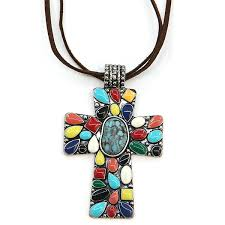 necklace 779 58 marvel cross navajo stone leather string necklace multicolor swtrading