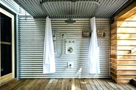 corrugated metal shower ceiling patio industrial with wall traditional tub and faucet sheet garage