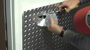 part 1 installing aluminum diamond plate wall panels in garage how to cut around an you