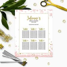 Printable Shower Chart Pink And Gold Bridal Shower Seating Chart Personalized