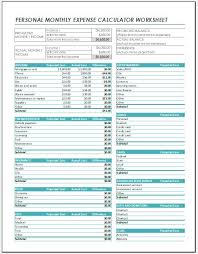 Personal Monthly Expense Calculator Worksheet Excel Templates