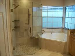 Small Bathtub Shower Corner Tub W Larger Walk In Shower Do Not Like The Wall Next To