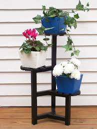 Decorations:Outdoor Flower Pot Shelf Stand Idea Wooden Plant Stand With 3  Level Stand Idea