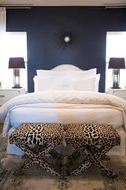 Striped Navy And White Bedroom With Leopard Bench The Spruce 25 Stunning Blue Bedroom Ideas
