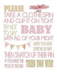 Baby Shower Clothes Pin Game Unique Clothespin Game Baby Shower Game Don't Say Baby Baby Shower