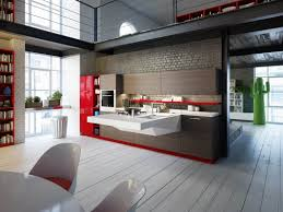 Kitchen Wall Finish Interior Design Modern Industrial Open Kitchen With Contemporary