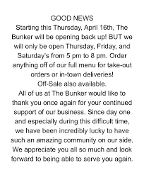The Bunker - Supper Club & Lounge - To be clear, we still will ONLY be open  for to-go food orders. Other than off-sale the bar will still be closed  along with