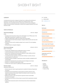 Artist Manager Resume Job Description Client Service Manager Resume Samples And Templates Visualcv