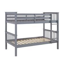 walker edison furniture company grey twin over twin solid wood mission design bunk bed