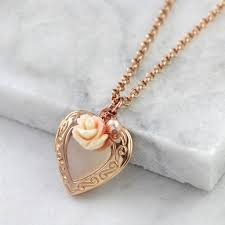 rose gold vintage heart locket necklace with pink and cream rose