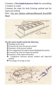 Two Handed Process Chart Solved Construct A Two Handed Process Chart For Assemblin