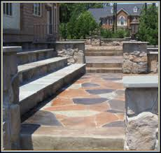 Stamped concrete patio with stairs Broken Concrete Stone Walls Stamped Concrete Flagstone Patio With Slate Steps Exost Stamped Concrete Flagstone Pavers In Virginia Va Stone Images