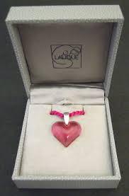 lalique small pink heart pendant 18c039a lalique small pink heart pendant boxed 18c039c