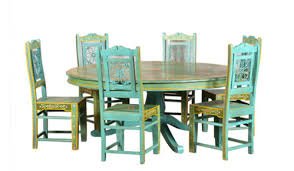 round dining table set with exclusive paint work