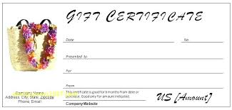 Sample Birthday Gift Certificate Template Free Printable Massage