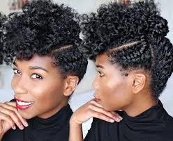 corporate updo on fluffy natural hair