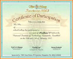 Certificate Of Participation Sample Design Word 53 Free