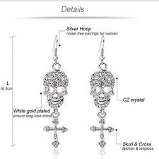 china gothic jewelry skull cross drops sparkly big chandelier earrings for women