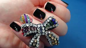 Simple Nail Art Designs With Different Rhinestones