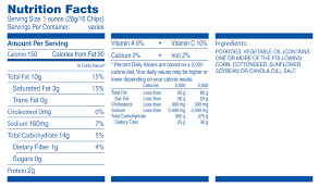 free lays potato chips nutrition facts