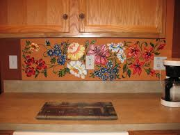 Mural Tiles For Kitchen Decor Kitchen Engaging Ideas For Kitchen Decoration Using Flower Tile 32