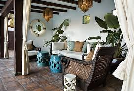 Decks/patios - Outdoor Cane Furniture Turquoise Blue Garden Stools Brown  Pillows Moroccan Pendants