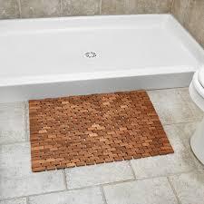 outside of shower folding teak bath mat with non slip grips for bathroom or teak shower mat r7