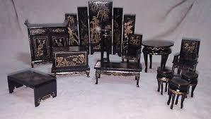 Miniature dollhouse furniture Simple Vintage Chinese Miniature Dollhouse Furniture Set Gold Black Lacquer 12 Pieces Dhgatecom Vintage Chinese Miniature Dollhouse Furniture Set Gold Black Lacquer