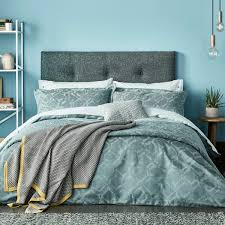inca petrol green block pattern bedding