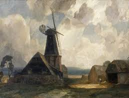 oil painting from the fine art collection the mill by rex vicat cole showing a windmill and other farm buildings against a cloudy sky