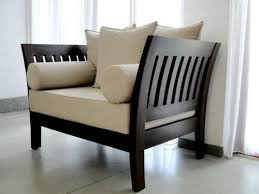 wooden sofa with cushion