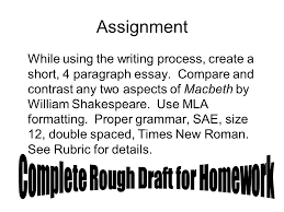 rubric comparison essay tasks points points  assignment while using the writing process create a short 4 paragraph essay