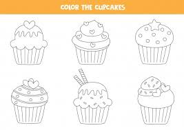 For kids & adults you can print cupcake or color online. Premium Vector Color Set Of Cute Cupcakes Coloring Page For Kids