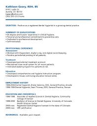 Resume Sample Dental Hygienist Resume Sample Free Registered Dental