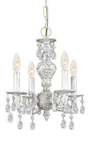 4 lights antique white mini crystal chandelier