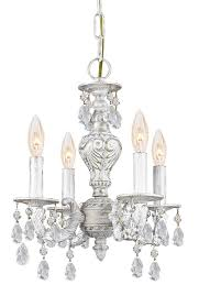 4 lights antique white mini crystal chandelier