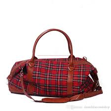 plaid large capacity weekend bag vintage fashion xmas duffle bag with pu faux leather overnight tote bag dom103398 large duffel bags duffle bags from