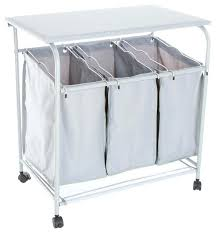 storagemaniac rolling laundry hamper with 3 section sorters rolling laundry  cart lavish home rolling 3 bin