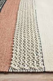 wool braided rug textured woven white peach rugs canada