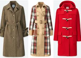jw anderson x uniqlo collaboration belted brown coat trench coat with plaid details red