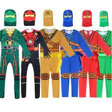 Kids Ninjago Party Costumes Boy Girls Halloween Cosplay Jumpsuits Ninja  Superhero Suit Children Carnival Purim Clothes Set 
