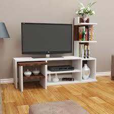 Ebern Designs Nyle Glass 60 Tv Stand Arzu Tv Unit White Walnut In 2019 Tv Stand Designs
