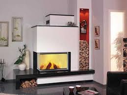 ... Large corner fireplace design in black and white ...