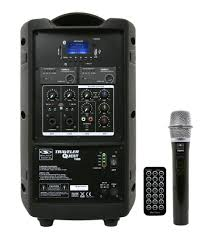 sound system with microphone. battery-powered portable sound system with 8\ microphone e