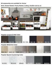 simple kitchen l shape design wood venner glass door furniture for