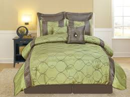 green and brown bedding