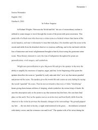 analytical essay between the world and me
